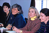 First lady Hillary Rodham Clinton meets with the bipartisan Congressional Caucus for Women's Issues on Capitol Hill in Washington, D.C. on Tuesday, February 23, 1993.  Pictured from left to right: U.S. Representative Nancy Pelosi (Democrat of California); U.S. Representative Pat Schroeder (Democrat of Colorado), Co-Chair of the Caucus; Hillary Rodham Clinton; and U.S. Representative Olympia Snowe (Republican of Maine), Co-Chair of the Caucus.  The meeting was to discuss women's issues.<br /> Credit: Jeff Markowitz / Pool via CNP