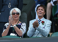 Sir Cliff Richard attends on Centre Court <br /> <br /> Photographer Rob Newell/CameraSport<br /> <br /> Wimbledon Lawn Tennis Championships - Day 6 - Saturday 7th July 2018 -  All England Lawn Tennis and Croquet Club - Wimbledon - London - England<br /> <br /> World Copyright &not;&copy; 2017 CameraSport. All rights reserved. 43 Linden Ave. Countesthorpe. Leicester. England. LE8 5PG - Tel: +44 (0) 116 277 4147 - admin@camerasport.com - www.camerasport.com
