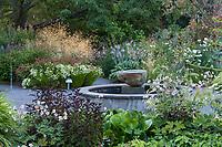 Fountain in Soest Herbaceous Display Garden, University of Washington Botanic Garden, Center for Urban Horticulture, Seattle