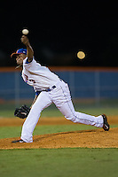 Kingsport Mets relief pitcher Adrian Almeida (3) delivers a pitch to the plate against the Elizabethton Twins at Hunter Wright Stadium on July 9, 2015 in Kingsport, Tennessee.  The Twins defeated the Mets 9-7 in 11 innings. (Brian Westerholt/Four Seam Images)
