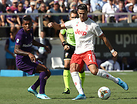 Calcio, Serie A: Fiorentina - Juventus, stadio Artemio Franchi Firenze 14 settembre 2019<br /> Juventus' Cristiano Ronaldo (r) in action with Fiorentina's Dalbert (l) during the Italian Serie A football match between Fiorentina and Juventus at Florence's Artemio Franchi stadium, September 14, 2019. <br /> UPDATE IMAGES PRESS/Isabella Bonotto