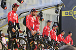 Team Sunweb on stage at the team presentation in Antwerp before the start of the 2019 Ronde Van Vlaanderen 270km from Antwerp to Oudenaarde, Belgium. 7th April 2019.<br /> Picture: Eoin Clarke | Cyclefile<br /> <br /> All photos usage must carry mandatory copyright credit (&copy; Cyclefile | Eoin Clarke)