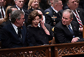 December 5, 2018 - Washington, DC, United States: former first lady Laura Bush wipes her eye during a moment of levity during the state funeral service of former President George W. Bush at the National Cathedral.  <br /> Credit: Chris Kleponis / Pool via CNP