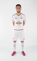 Wednesday 06 May 2015<br /> Pictured: Matty Grimes in home kit<br /> Re: Swansea City FC new Adidas kit at Fairwood Training Ground.