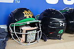 CHAPEL HILL, NC - MAY 11: Notre Dame batting helmets in the dugout. The #4 Boston College Eagles played the #5 University of Notre Dame Fighting Irish on May 11, 2017, at Anderson Softball Stadium in Chapel Hill, NC in a 2017 Atlantic Coast Conference Tournament Quarterfinal Softball game. Notre Dame won the game 9-5 in eight innings.