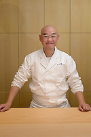Sushi chef Mitsuhiro Araki, The Araki, London, UK, December 16, 2014. Following the success of his Three-Michelin-Star restaurant in Tokyo's Ginza, in 2014 Araki relocated to London.