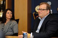 Price is Right host Drew Carey makes a point as former U.S. Women's National Team member Mia Hamm listens during a meeting of members of the USA Bid Committee for the FIFA World Cup in New York, NY on December 15, 2009.