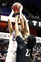 UNCASVILLE, CONNECTICUT -MAR 05: , Uconn ladies defeated Cincinnati in the semis of the AAC tournament 75-21 as Napheesa Collier grabs a rebound on March 5, 2018 in Uncasville, Connecticut. ( Photo by D. Heary/Eclipse Sportswire/Getty Images)