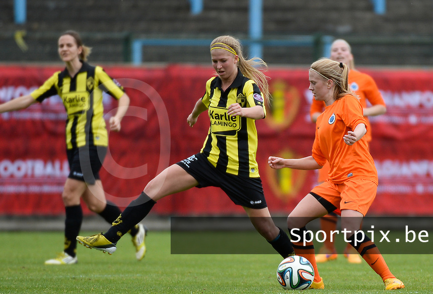 20150514 - BEVEREN , BELGIUM : Lierse's Merel Groenen (left)  pictured with Brugge's Silke Demeyere (right)  during the final of Belgian cup, a soccer women game between SK Lierse Dames and Club Brugge Vrouwen , in stadion Freethiel Beveren , Thursday 14 th May 2015 . PHOTO DAVID CATRY