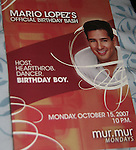 Actor Mario Lopez (filming Husband for Hire and was on Bold and the Beautiful as Dr. Christian Ramirez) celebrates his official birthday bash on October 15, 2007 at mur.mur in the Borgata in Atlantic City, New Jersey. Special birthday cake was made for him. Before the birthday party two lucky ladies won dinner with Mario (left to right Brege Shinn and Alyssa Baum) (Photo by Sue Coflin/Max Photos)