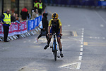 Crash for Jacob Eriksson (SWE) on the run into Harrogate for the first time during the Men U23 Road Race of the UCI World Championships 2019 running 186.9km from Doncaster to Harrogate, England. 27th September 2019.<br /> Picture: Eoin Clarke | Cyclefile<br /> <br /> All photos usage must carry mandatory copyright credit (© Cyclefile | Eoin Clarke)