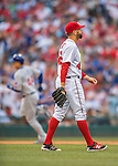 15 June 2016: Washington Nationals pitcher Oliver Perez walks back to the mound after serving up a home run to Chicago Cubs' Anthony Rizzo during the 9th inning at Nationals Park in Washington, DC. The Nationals defeated the Cubs 5-4 in 12 innings to take the rubber match of their 3-game series. Mandatory Credit: Ed Wolfstein Photo *** RAW (NEF) Image File Available ***