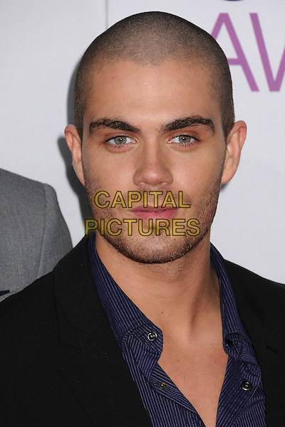 The Wanted - Max George .People's Choice Awards 2013 - Arrivals held at Nokia Theatre L.A. Live, Los Angeles, California, USA..January 9th, 2013.headshot portrait stubble facial hair black blue band group .CAP/ADM/BP.©Byron Purvis/AdMedia/Capital Pictures.