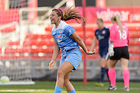 Bridgeview, IL, USA - Sunday, May 29, 2016: Chicago Red Stars forward Sofia Huerta (11) celebrates her goal during a regular season National Women's Soccer League match between the Chicago Red Stars and Sky Blue FC at Toyota Park. The game ended in a 1-1 tie.
