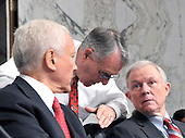 Washington, DC - July 14, 2009 -- United States Senators Orrin Hatch (Republican of Utah), left, Jon Kyl (Republican of Arizona), center, and Jeff Sessions (Republican of Alabama), right, discuss the testimony of Judge Sonia Sotomayor before the U. S. Senate Judiciary Committee considering her nomination as Associate Justice of the U.S. Supreme Court on Tuesday, July 14, 2009..Credit: Ron Sachs / CNP