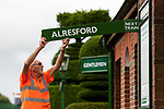 Pictured: Volunteer gardener Richard Wilson changes the rail sign on the platform to signify the first depatures at Ropley Station ahead of the reopening of Mid Hants Railway to the general public this Saturday, 11th July.<br /> <br /> © Jordan Pettitt/Solent News & Photo Agency<br /> UK +44 (0) 2380 458800