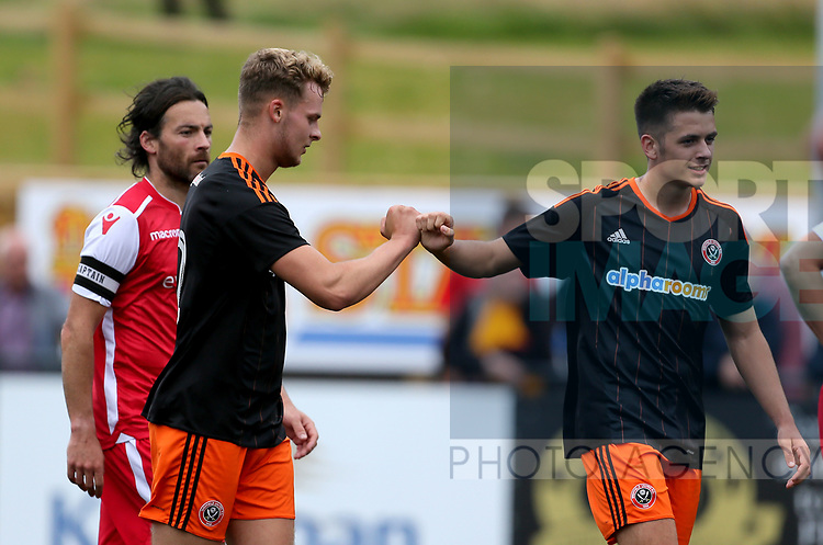 Jake Wright of Sheffield Utd celebrates during the pre season match at the Flamingo Land Stadium, Scarborough. Picture date 15th July 2017. Picture credit should read: Richard Sellers/Sportimage