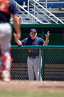 State College Spikes hitting coach Roger LaFrancois (48) argues a call from the dugout during a game against the Batavia Muckdogs on July 8, 2018 at Dwyer Stadium in Batavia, New York.  Batavia defeated State College 8-3.  (Mike Janes/Four Seam Images)