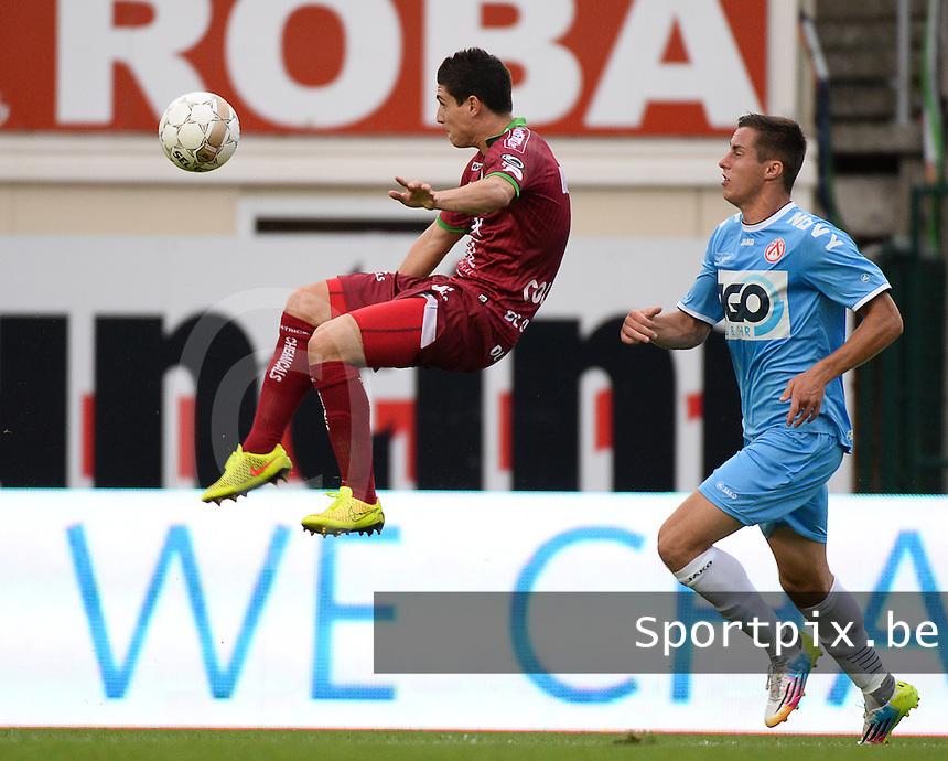 SV Zulte Waregem  - KV Kortrijk  : Steve Colpaert (links) haalt de bal weg voor Adam Marusic (r)<br /> foto VDB / BART VANDENBROUCKE
