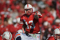 01 January 2007: Nebraska quarterback Zac Taylor (#13) points out defenders at the line of scrimmage during the 2007 AT&T Cotton Bowl Classic between The University of Auburn and The University of Nebraska at The Cotton Bowl in Dallas, TX.