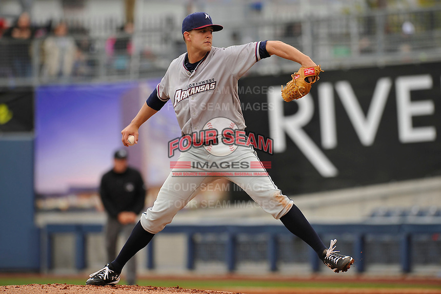 Northwest Arkansas Naturals starting pitcher Christian Binford (19) throws during the game against the Tulsa Drillers at Oneok Field on May 2, 2016 in Tulsa,Oklahoma.  Northwest Arkansas won 9-6.  (Dennis Hubbard/Four Seam Images)