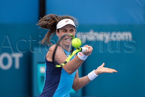 11.01.17 Sydney Olympic Park, Sydney, Australia.  Johanna Konta (GBR) in action against Daria Kasatkina (RUS) during their match on day 4 at the Apia International Sydney. Konta won 6-3,7-5.