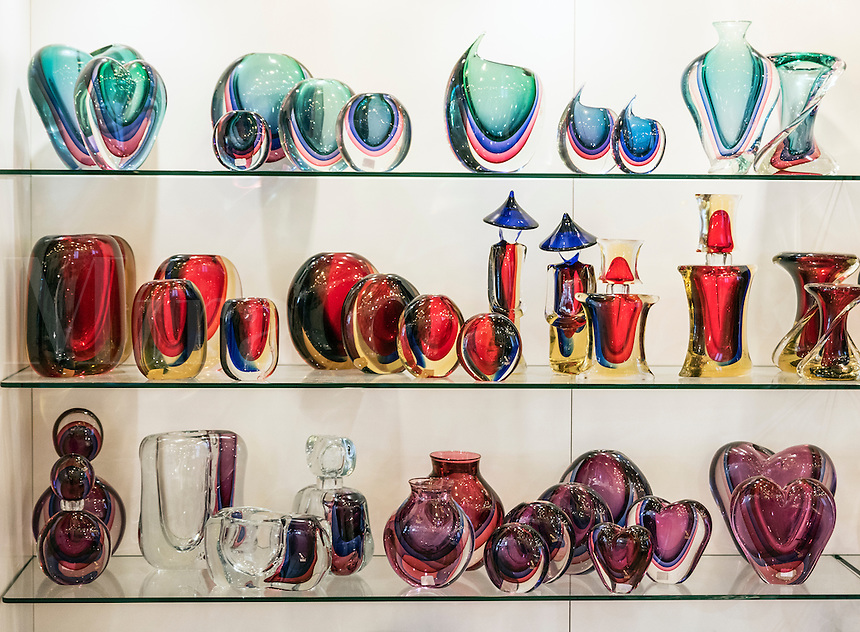Glass gallery on the Venitian island of Murano, Italy. Famous for it's many furnaces and hand made glass.