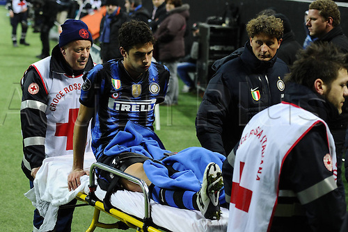 23 02 2011  Milan, Italy. Champions League Inter versus Bayern    Photo shoiws Andrea Ranocchia of Inter being strechered off the filed