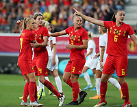 20190829 - LEUVEN , BELGIUM : Belgian players from left to right, Janice Cayman, Heleen Jacques, Elle van Kerkhoven and Tine De Caigny are pictured during the female soccer game between the Belgian Red Flames and England , The Lionesses , a friendly womensoccer game in the preparation for the European Championship qualification round in group H for England 2021, Tuesday 29 th August 2019 at the King Power Stadion Den Dreef in Leuven , Belgium. PHOTO SPORTPIX.BE | SEVIL OKTEM