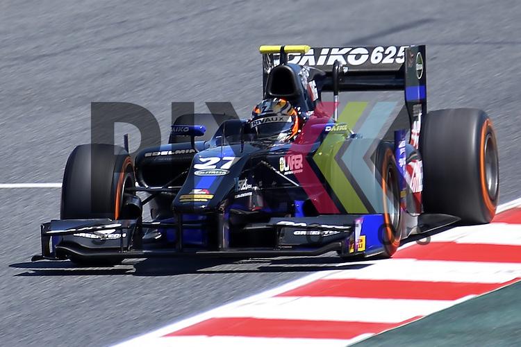 Barcelona, 08.05.15, Motorsport, GP2 Series Barcelona 2015 : Zoel Amberg (Lazarus, #27)<br /> <br /> Foto &copy; P-I-X.org *** Foto ist honorarpflichtig! *** Auf Anfrage in hoeherer Qualitaet/Aufloesung. Belegexemplar erbeten. Veroeffentlichung ausschliesslich fuer journalistisch-publizistische Zwecke. For editorial use only.