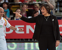 16.09.2012 Silver Ferns coach Waimarama Taumaunu in action during the first netball test match between the Silver Ferns and the Australian Diamonds played at the Hisense Arena In Melbourne. Mandatory Photo Credit ©Michael Bradley.