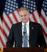 Democratic Vice Presidential nominee United States Senator Tim Kaine (Democrat of Virginia) looks on before introducing Presidential candidate Hillary Clinton to deliver her concession speech Wednesday, from the New Yorker Hotel's Grand Ballroom in New York, NY, on November 9, 2016.  <br /> Credit: Olivier Douliery / Pool via CNP