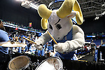 27 March 2015: UNC mascot Rameses plays the drums. The University of North Carolina Tar Heels played the University of South Carolina Gamecocks at the Greensboro Coliseum in Greensboro, North Carolina in a 2014-15 NCAA Division I Women's Basketball Tournament regional semifinal game. South Carolina won the game 67-65.