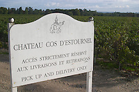 Chateau Cos d'Estournel sign, Saint Estephe. Medoc, Bordeaux, France