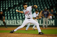 Richmond Flying Squirrels relief pitcher Chase Johnson (57) during an Eastern League game against the Binghamton Rumble Ponies on May 29, 2019 at The Diamond in Richmond, Virginia.  Binghamton defeated Richmond 9-5 in ten innings.  (Mike Janes/Four Seam Images)