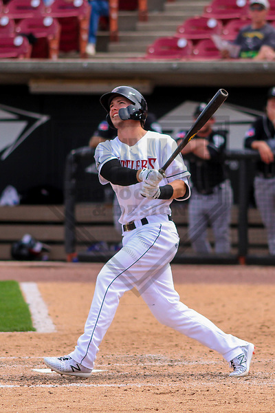 Wisconsin Timber Rattlers outfielder Tristen Lutz (21) during a Midwest League game against the Lansing Lugnuts on May 8th, 2018 at Fox Cities Stadium in Appleton, Wisconsin. Lansing defeated Wisconsin 11-4. (Brad Krause/Krause Sports Photography)