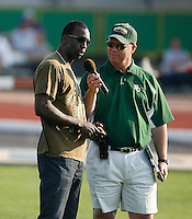 World Record Holder Michael Johnson saying a few word of thanks  to the crowd @ the Michael Johnson Classic which was held @ Baylor Univ., Waco,Texas on Saturday, April 21, 2007. Photo by Errol Anderson, The Sporting Image.