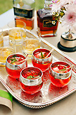 USA, Tennessee, Nashville, Iroquois Steeplechase, drinks on a tray, Moonshine Cherry-Basil Blush and Tennessee Whiskey