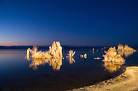 Tufas of Mono Lake photographed in dramatic light at nightfall