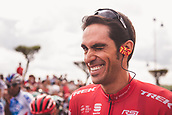 September 7th 2017, Suances, Spain; Cycling, Vuelta a Espana Stage 18; Alberto Contador at the start of the stage in hearty mood