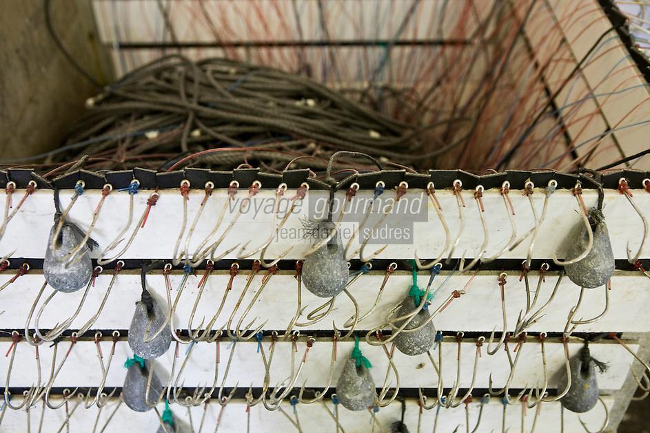 Europe/France/Bretagne/29/Finistère/  Poulgoazec:  la criée de Poulgoazec environs  d'Audierne détail des lignes des bateaux ligneurs qui pêcheront  le bar de ligne