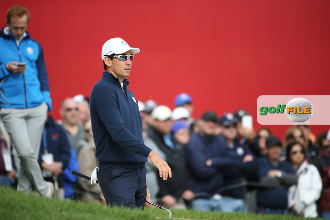 Rafa Cabrera Bello (Team Europe) plays from the sand during Tuesday's Practice Round ahead of The 2016 Ryder Cup, at Hazeltine National Golf Club, Minnesota, USA.  27/09/2016. Picture: David Lloyd | Golffile.