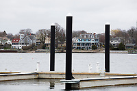 Newport houses can be seen beyond the marina at Gurney's Newport Resort and Marina, which was formerly a Hyatt Regency hotel, in Newport, Rhode Island, on Wed., April 19, 2017. The entire hotel will be renewed with an approximately $18 million renovation to be completed by Memorial Day 2017.