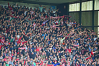 Lincoln City fans celebrate the first goal for Lincoln City<br /> <br /> Photographer Andrew Vaughan/CameraSport<br /> <br /> Vanarama National League - Lincoln City v Macclesfield Town - Saturday 22nd April 2017 - Sincil Bank - Lincoln<br /> <br /> World Copyright &copy; 2017 CameraSport. All rights reserved. 43 Linden Ave. Countesthorpe. Leicester. England. LE8 5PG - Tel: +44 (0) 116 277 4147 - admin@camerasport.com - www.camerasport.com