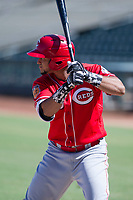 Cristian Olivo (43) of the Cincinnati Reds at bat during an Instructional League game against the Kansas City Royals on October 2, 2017 at Surprise Stadium in Surprise, Arizona. (Zachary Lucy/Four Seam Images)