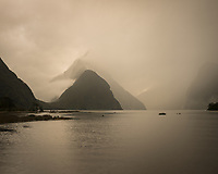 Moody sunset in Milford Sound, Fiordland National Park, UNESCO World Heritage Area, Southland, New Zealand, NZ