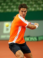 6-2-06, Netherlands, Amsterdam, Daviscup, first round, Netherlands-Russia, training, Jesse Huta Galung in his Daviscup debute
