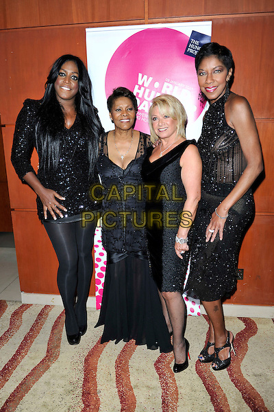 MICA PARIS,  NATALIE COLE, ELAINE PAIGE &amp; DIONNE WARWICK<br /> attends The Hunger Project Concert after party as part of World Hunger Day 2011 at the Park Plaza Hotel in London, England, UK, January 9th, 2011.<br /> half length black sleeveless dress velvet tall short  sheer jacket see thru through beaded sparkly sequined sequin mini <br /> CAP/MAR<br /> &not;&copy; Martin Harris/Capital Pictures