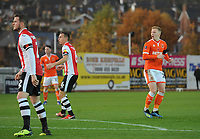 Blackpool's Callum Guy reacts to seeing his effort saved<br /> <br /> Photographer Kevin Barnes/CameraSport<br /> <br /> Emirates FA Cup First Round - Exeter City v Blackpool - Saturday 10th November 2018 - St James Park - Exeter<br />  <br /> World Copyright © 2018 CameraSport. All rights reserved. 43 Linden Ave. Countesthorpe. Leicester. England. LE8 5PG - Tel: +44 (0) 116 277 4147 - admin@camerasport.com - www.camerasport.com