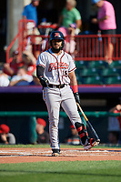 Richmond Flying Squirrels Heliot Ramos (18) at bat during an Eastern League game against the Erie SeaWolves on August 28, 2019 at UPMC Park in Erie, Pennsylvania.  Richmond defeated Erie 6-4 in the first game of a doubleheader.  (Mike Janes/Four Seam Images)